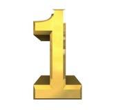 3d número 1 en oro Fotografía de archivo