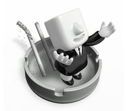 3d nonsmoking man on the ashtray Royalty Free Stock Photo