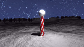 3D North Pole. Illustration with snow and stars Stock Image