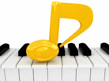 3d note and piano. On white background royalty free illustration