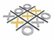3D noughts and crosses. 3D render noughts and crosses Royalty Free Stock Photos