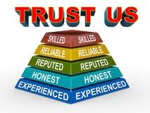 3d nous font confiance pyramide de concept Images stock