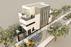 3d nowożytny dom, odpłaca się w 3ds nowożytny na biały backg, zdjęcia royalty free