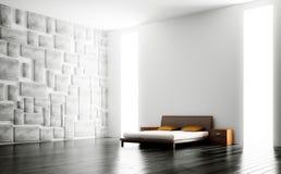 3d nowożytny sypialni wnętrze Zdjęcia Royalty Free