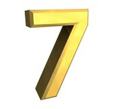 3d Nr. 7 im Gold Stockfoto