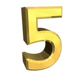 3d numéro 5 en or Photos stock