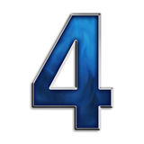 3D Numb 4. 3d number four in fiery blue & steel isolated on white Royalty Free Stock Photos