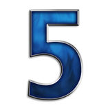 3D Numb 5. 3d number five in fiery blue & steel isolated on white Stock Photos
