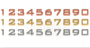 3d number 0-9 set. Set of number in Gold silver and bronze Stock Image