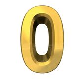 3d number 0 in gold Royalty Free Stock Images