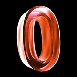 3d number 0 in red glass. 3d made number 0 in glass Stock Images