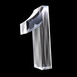 3d number 1 in glass Stock Photo