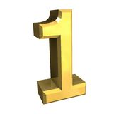 3d number 1 in gold Royalty Free Stock Photos