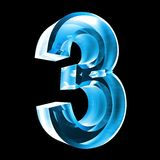 3d number 3 in blue glass. 3d made number 3 in glass Royalty Free Stock Photo