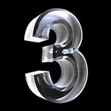 3d number 3 in glass Stock Image