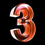 3d number 3 in red glass. 3d made number 3 in glass Royalty Free Stock Photo