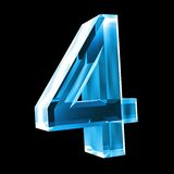 3d number 4 in blue glass Stock Images