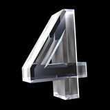 3d number 4 in glass Royalty Free Stock Photos