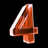 3d number 4 in red glass. 3d made number 4 in glass Royalty Free Stock Images