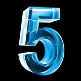 3d number 5 in blue glass. 3d made number 5 in glass Stock Photo