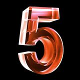 3d number 5 in red glass Stock Image
