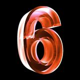 3d number 6 in red glass. 3d made number 6 in glass Stock Photos