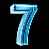 3d number 7 in blue glass. 3d made number 7 in glass Stock Image