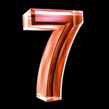 3d number 7 in red glass Royalty Free Stock Images