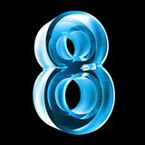 3d number 8 in blue glass. 3d made number 8 in glass Stock Photo