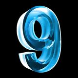 3d number 9 in blue glass. 3d made number 9 in glass Royalty Free Stock Images