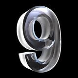 3d number 9 in glass Royalty Free Stock Images