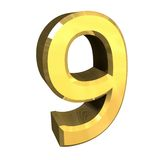 3d number 9 in gold Royalty Free Stock Photography