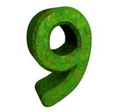 3d number 9 green. 3d made number 9 green Royalty Free Stock Images
