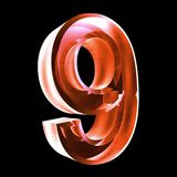 3d number 9 in red glass. 3d made number 9 in glass Stock Photography