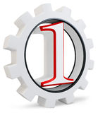 3d number one concept with gear Stock Images