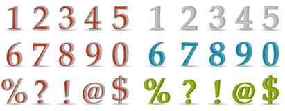3D numbers and symbols Royalty Free Stock Image