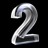 3d numero 2 in vetro Fotografie Stock Libere da Diritti