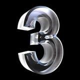 3d numero 3 in vetro Immagine Stock