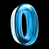 3d nummer 0 in blauw glas Stock Afbeeldingen