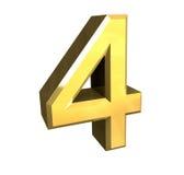 3d nummer 4 in goud Royalty-vrije Stock Afbeeldingen