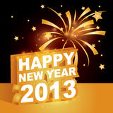 3D, nuovo anno felice 2013 Fotografie Stock