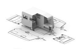 3d obozowicza map model Obrazy Stock