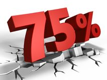 3d Of 75 Percent Discount Royalty Free Stock Photos