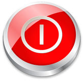 3d On/Off button on red. And metallic silver Royalty Free Stock Photo