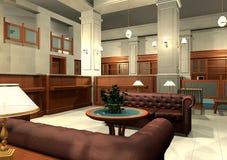 3D office lobby rendering stock photo