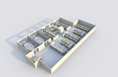 3D Office Plan Royalty Free Stock Image
