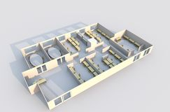 3D Office Plan royalty free illustration