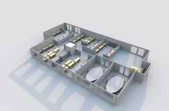 3D Office Plan Royalty Free Stock Images