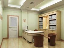 3d office rendering. The 3D rendering of the classic style waiting room stock illustration