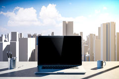 3d Office Workplace With Skyline In The Background Royalty Free Stock Photography